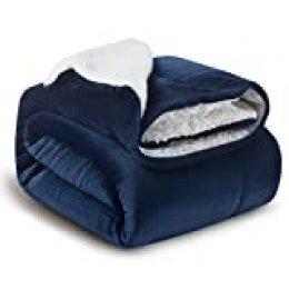 Bedsure Manta Reversible de Franela/Sherpa 150x200cm - Manta para Cama 90 de 100% Microfibra Extra Suave - Manta de Felpa Azul Marino