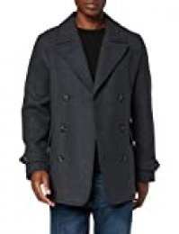 Marca Amazon - find. Abrigo Cruzado de Lana Hombre, gris (Charcoal), M, Label: M