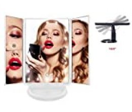 Espejo de Maquillaje con 22 Luz Led y Aumentos x1 x2 x3 Negro o Blanco, para Mesa, Sobremesa o Escritorio | Espejo Tocador Lupa Zoom con Rotación 180° Luces Intensidad Regulable Carga USB o Batería
