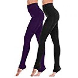 Las polainas de las mujeres, Fixget 2 pares de leggings mujer altos leggings de cintura completa de la longitud de las mujeres polainas del estiramiento de la energía, bragas calientes gruesas