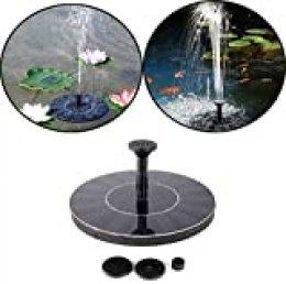 LZQ Fuente Solar Bomba de estanque Bomba Exterior para Jardín, Pájaro de baño, Estanque, depósito de agua Decoración (redonda), 1,4 W redonda.