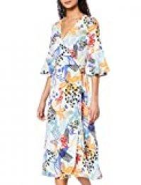 Marca Amazon - find. Vestido Cruzado de Flores Mujer