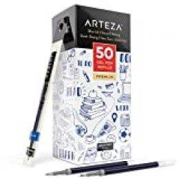 Arteza Recambios de bolígrafo de gel azul | Paquete de 50 recargas de bolígrafo de tinta de gel azul | Secado rápido, sin tóxicos | Punta fina para escribir, tomar notas y dibujar