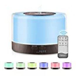SUPOLA Humidificador Aromaterapia Ultrasonico 700ML con Mando a Distancia, Difusor de Aceites Esencial, 7-Color LED,4 Temporizador,2 Opciones de Niebla Difusor Aromaterapia para Bebé Yoga Oficina
