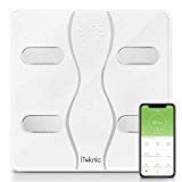 Báscula Grasa Corporal iTeknic Báscula Inteligente Bluetooth Báscula Digital Persona de Peso Profesional Analiza 13 Datos Masa Mascular BMI Grasa Visceral BMR con APP para Andriod y iOS