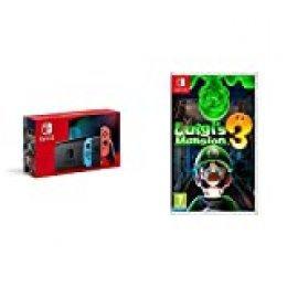 Nintendo Switch - Consola Estándar, Color Azul Neón/Rojo Neón + Luigi's Mansion 3