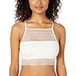 Mae Women's Stripe HI-Neck Lace Bralette Sujetador, Ivory, X-Large para Mujer