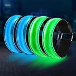 CAMTOA Pulsera LED de 4 Piezas Pulsera Luminosa a Prueba de Agua LED La luz de Seguridad Nocturna con Pulsera Reflectante es Muy Adecuada para Correr, Montar en Bicicleta y al Aire Libre