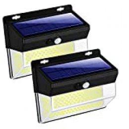 262 Luces solares LED para exteriores,3 modos de sensor de movimiento inalámbrico,luces solares superbrillantes, IP65 resistente al agua 270° gran angular,para jardín,patio,pasillo,calzada,2 pack
