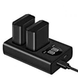 ESDDI FW50 batería para Sony 1100mAh, Nex-5 Alpha7 / 7ii / 6500/5100 NEX-7 Nex-5 NEX-5N NEX-5T SLT A55VA37 etc, 2 x baterías de Repuesto, Entrada USB 2.1A