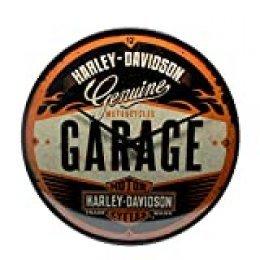 Nostalgic-Art 51083, Harley-Davidson Garage, Wanduhr 31cm Reloj de Pared, Metal, carbón, 31 x 31 x 5,5 cm