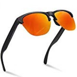 NWOUIIAY Lentes de Sol de Moda Clásico Retro Vintage Gafas de Sol de Lentes Polarizadas para Hombres on Lente TAC 100% UV 400 de Marco de Nylon (Naranja + negro)