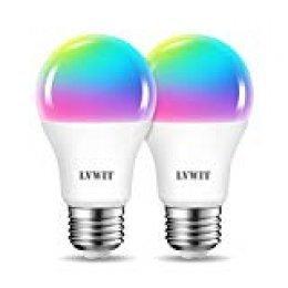 LVWIT Bombillas LED Inteligente WiFi Regulable 8.5W 806 Lm, Lámpara E27 Multicolor Bombilla Funciona con Alexa, Asistente de Google y App Smart Life/Tuya, A60 Equivalente a 60W RGB, 2 Pcs.