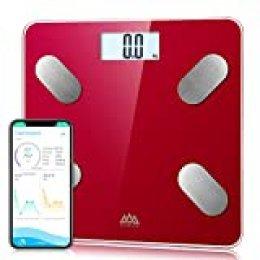 SENSSUN Bascula de Baño Digital Grasa Corporal,balanzas digitales bluetooth,Analiza la composición corporal,con 13 Funciones,IMC/músculo/grasa corporal/masa ósea(Rojo)