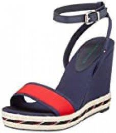 Tommy Hilfiger Sporty Textile High Wedge, Sandalias con Punta Abierta para Mujer, Azul (Sport Navy Db9), 40 EU