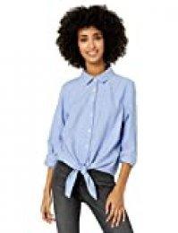 Goodthreads Solid Brushed Twill Tie-Front Shirt Dress-Shirts, Azul (Chambray Blue), US L (EU L - XL)