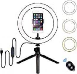 "BLOOMWIN Luz de Anillo LED 10"" Fotográfica de Escritorio Aro de Luz Trípode con Soporte de Teléfono 3 Colores 10 Brillos Regulables Control Remoto Bluetooth para Selfie, Maquillaje, Youtube, TIK Tok"