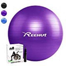 REEHUT Pelota de Ejercicio Anti-Burst para Yoga, Equilibrio, Fitness, Entrenamiento, incluidos Bomba y Manual de Usuario - Púrpura 65cm