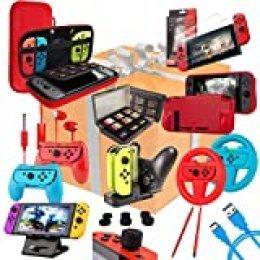 Orzly Kit Accesorios para Nintendo Switch Geek Pack con: Funda y Protector de Pantalla Switch, Empuñaduras & Volante para mandos JoyCon, Una Base de Carga USB y Un Soporte portátil, y más [ColorPop]