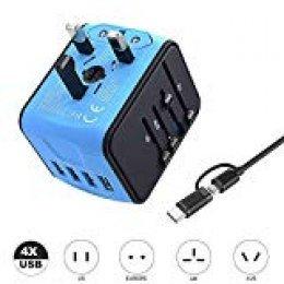VGUARD Adaptador Enchufe Universal de Viaje, Cargador Internacional con 4 Puertos USB (MAX 3.4A) y Seguridad de Fusibles para US EU UK AU Japon Asia África Más de 150 Países (Azul)