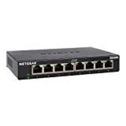 Netgear GS308 Switch 8 Puertos 10/100/1000, Switch gigabit Plug and Play, Switch ethernet de sobremesa, Caja de Metal sin Ventilador