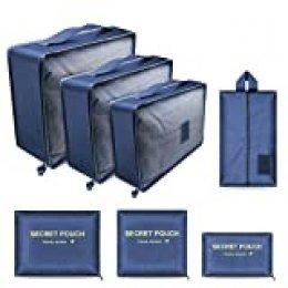 Lookka - Juego de 7 organizadores de equipaje de viaje para guardar ropa, maletas, zapatos, ropa interior, cosméticos, artículos de tocador Verde verde large
