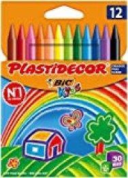 BIC Kids Plastidecor - Blíster de 12 unidades, ceras para colorear, colores surtidos