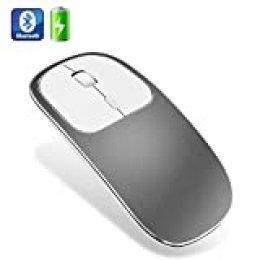 Ratón Bluetooth, ultradelgado de metal sin ruido, inalámbrico, recargable, compatible con portátiles, PC, portátil, computadora, MacBook y Android OS Tablet