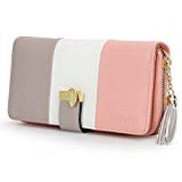 Monedero para mujer, cartera con múltiples ranuras para tarjetas y compartimento espacioso Blanco rayas large