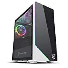 Nfortec Vega RGB - Caja de ordenador para gaming (cristal templado), color blanco y negro