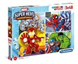 Clementoni- 3 Puzzles 48 Piezas Superhero (25248.0)