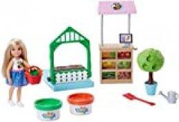 Barbie Muñeca Chelsea y su huerto, accesorios muñeca (Mattel FRH75)