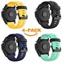 YaYuu Garmin Fenix 3/Fenix 5 x Reloj Banda, Suave Silicona Reloj Accesorio Correa de Repuesto para Smart Garmin Fenix 3/Fenix 3 HR/Fenix 5 x Reloj, Blanco (#A 4 Pack)