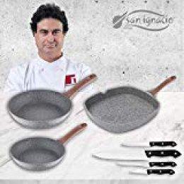San Ignacio Granito Set 3 sartenes + 4 Cuchillos, Aluminio Forjado
