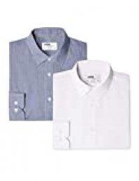 Marca Amazon - find. Camisa de Cuadros Vichy Slim Fit Hombre, Pack de 2, Mehrfarbig (Gingham Navy / White), 41 cm, Label:L