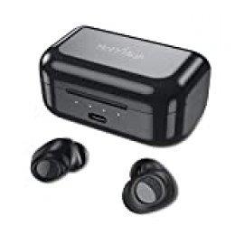 Auriculares Inalámbricos Bluetooth, HolyHigh Impermeable Auriculares Bluetooth 5.0 Deportivos 3000mAh Caja de Carga Dual Dinámico Audio Estéreo Bajo Profundo con Micro
