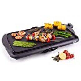 Duronic GP20 Plancha de asar grill eléctrico - Parrilla de cocina antiadherente 2000W 52 x 27 cm con temperatura regulable y bandeja para la grasa extraíble - Grill transportable y fácil de limpiar