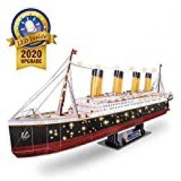 CubicFun Puzzle 3D Grande LED Titanic Barco Buque Embarcacion Kits de Construcción Modelo Juguetes para Adultos y Adolescentes, 266 Piezas