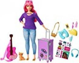 Barbie Travel Doll Vamos de Viaje, muñeca Daisy con accesorios (Mattel FWV26), multicolor FVV26