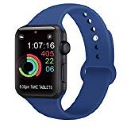 AK Compatible con para Apple Watch Correa 42mm 38mm 44mm 40mm, Silicona Blanda Deporte Reemplazo Correas Compatible con para iWatch Series 4, Series 3, Series 2, Series 1 (10 Royal Blue, 38/40mm S/M)