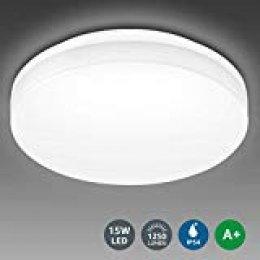 LE Lámpara LED de Techo LED de Baño 15W Plafón LED Impermeable IP54 Super Brillante 1250lm 5000k Blanco Frío Luz de Techo Ideal para Sala de Estar, Cocina, Balcón, Pasillo, Baño