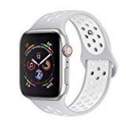 jwacct Correa Compatible para Apple Watch 38mm 40mm 42mm 44mm, Correa de Repuesto de Silicona Suave para iWatch Series 4/3/2/1 (Platine Pur/Blanc, 42mm/44mm M/L)