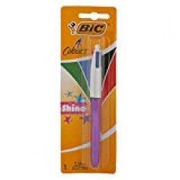 BIC 4 colores Shine Bolígrafo Retráctil punta media (1,0 mm) – colores Metálicos Surtidos, Blíster de 1 Unidad