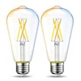 LVWIT Bombillas Inteligente LED ST64 Filamento WiFi Regulable 6.5W 806 LM, Lámpara E27 Bombilla Funciona con Alexa, Google Home Assistant y App Smart Life/Tuya, Equivalente a 60W, 2 Pcs.