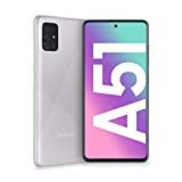 """Samsung Galaxy A51 - Dual SIM, Smartphone de 6.5"""" Super AMOLED (4 GB RAM, 128 GB ROM, cámara Trasera 48.0 MP + 12.0 MP + 5.0 MP + 5 MP, cámara Frontal 32 MP) Color Plata Metálico [Versión española]"""