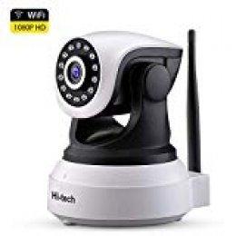 Cámara de Vigilancia WiFi Interior,Hi-tech HD1920*1080p Cámara IP WiFi Inalámbrica,- P2P con Micrófono y Altavoz, Visión Nocturna, Detección de Movimiento, Camaras de Seguridad para Bebé y Mascota