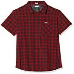 Columbia Triple Canyon Camisa de Manga Corta, Hombre, Rojo (Mountain Red Mini Tonal Plaid), S