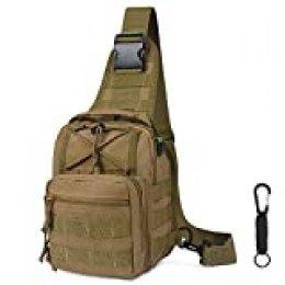 flintronic Sling Bag, Bolso Cinturón Táctica Militar Compacta 600D Nylon para Herramientas Pequeñas de Multiusos Teléfono Móvil al Aire Libre Deportes Senderismo y Camping, con 1 Mosquetón, Caqui