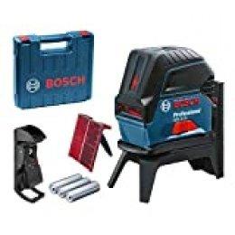 Bosch Professional 60106600 GCL 2-15 Nivel Rojo, con Puntos de plomada, Alcance: 15 m, 3 Pilas AA, Soporte Giratorio RM 1, Placa reflectora láser, Estuche de protección, maletín, 4.5 V