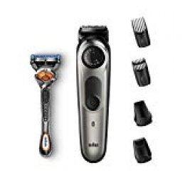 Braun BT7020 - Recortadora de Barba y Cortapelos Hombre, Recortadora para Pequeños Detalles, Afeitadora Mini, con Cuchillas Afiladas de Larga Duración, Incluye Maquinilla Gillette, Negro y Gris